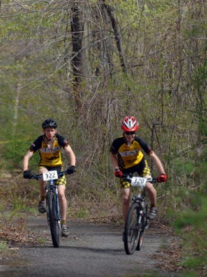 A bike race on April 30, 2011 at Jungle Habitat included riders Dylan van Wart and Adam Vandenbos on course.