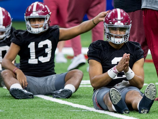 Alabama quarterback Jalen Hurts (2) during practice at the Superdome in New Orleans, La. on Saturday December 30, 2017. (Mickey Welsh / Montgomery Advertiser)