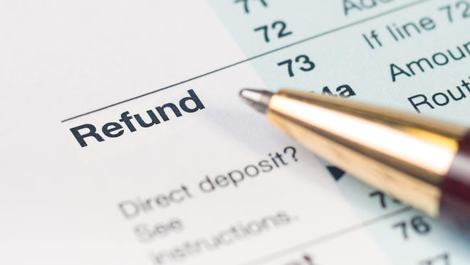 Close-up of the refund line on a tax return form.