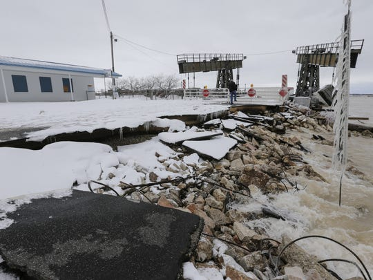 The ramp to the car ferry damaged by the winter storm