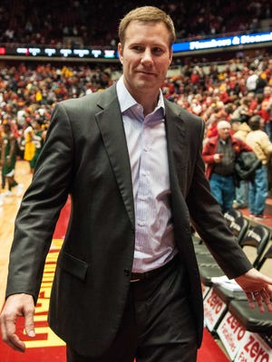 Iowa State Cyclones head coach Fred Hoiberg smiles after his team defeats the Mississippi Valley State Delta Devils at James H. Hilton Coliseum. Iowa State won 83-33.
