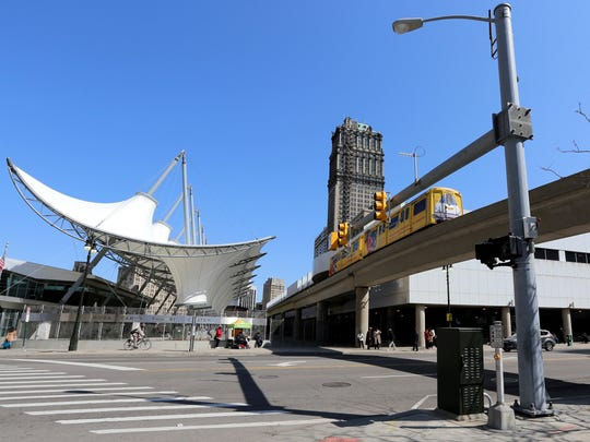 People Mover stop at Michigan Ave. and Cass in Detroit