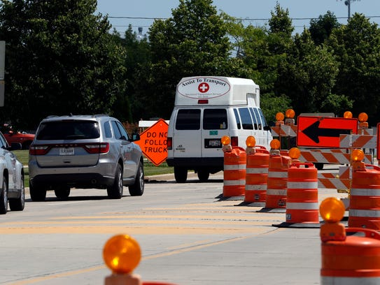 The four-lane Dewey Street has been narrowed to one