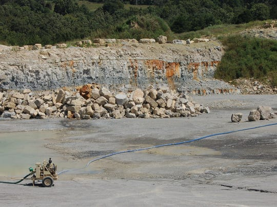 A large pile of rock sits on the floor of the Marion County quarry  Wednesday afternoon.