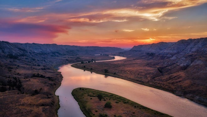 A drone captured this view of the Missouri River northeast of Winifred in the Upper Missouri River Breaks National Monument