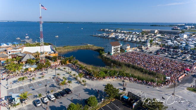 An drone photo of people waiting to get into Seacrets at 8 a.m. on Saturday, May 26, 2018.