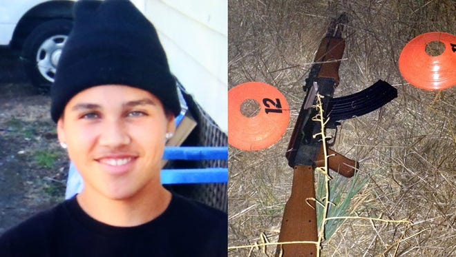 This combination of photos provided by the family via The Press Democrat and the Sonoma County Sheriff's Department shows an undated photo of 13-year-old Andy Lopez and the replica assault rifle he was holding when he was shot and killed by two Sonoma County deputies in Santa Rosa, Calif. on Tuesday, Oct. 22, 2013.