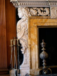 Italianate marble detail on the living room fireplace