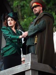 Saren Nofs-Snyder and Patrick DuLaney rehearse a scene