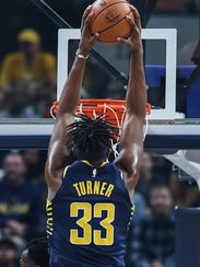 Indiana Pacers forward Myles Turner (33) slams a dunk