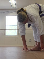 Flexibility is key to proficiency in karate, as demonstrated