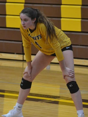 Pellston junior Grace Morse (8) recently earned a spot on the All-Ski Valley Conference volleyball first team.