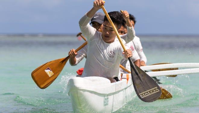 FD Friars approach the finish line during the Guam Kayak & Canoe Federation/IIAAG Karerån Galaide championships held at Matapang Beach, Tumon on May 14.