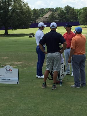 David Toms (second from right) speaks with fellow Shreveporter Sam Burns (far left) on Wednesday prior to the FedEx St. Jude Classic at TPC Southwind in Memphis.