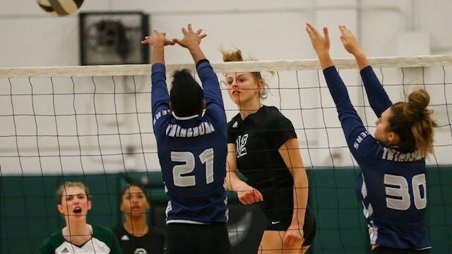 Nordonia's Mya Sopata goes for a kill against Twinsburg during a game last season.
