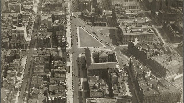 This is a view of the Copley Square area as seen from the air in 1930.