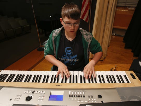 File photo of Joey O'Connor executing his notes during Washington Junior High jazz band practice in May 2017.