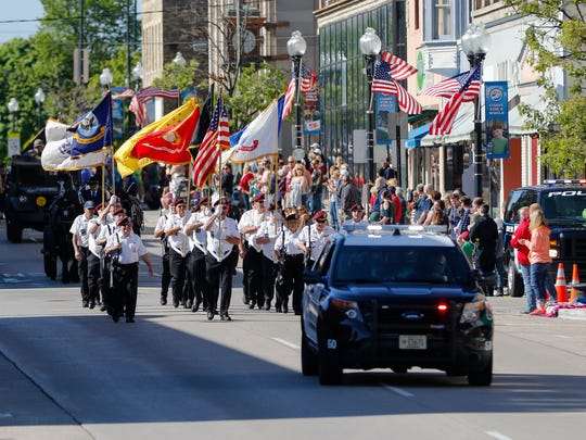 Manitowoc's Memorial Day parade kicks off downtown on 8th Street Monday, May. 29, 2017, in Manitowoc, Wis.