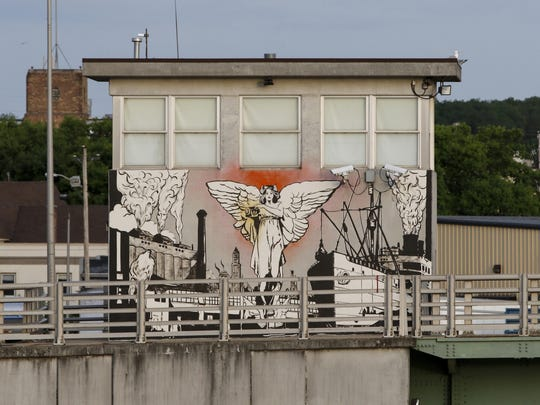 The view of the new 10th Street mural from the Eighth Street bridge June 16 in Manitowoc.