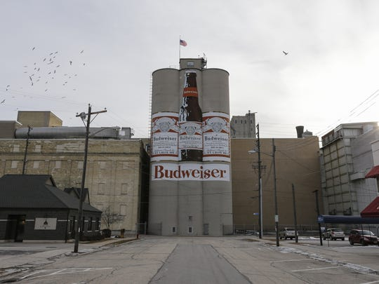 The Briess Malt towers display the iconic Budweiser