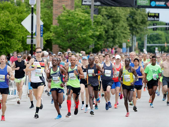 Runners take off at the start of the 2018 Bellin Run