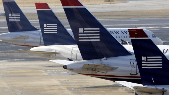 US Airways jets at the Philadelphia International Airport