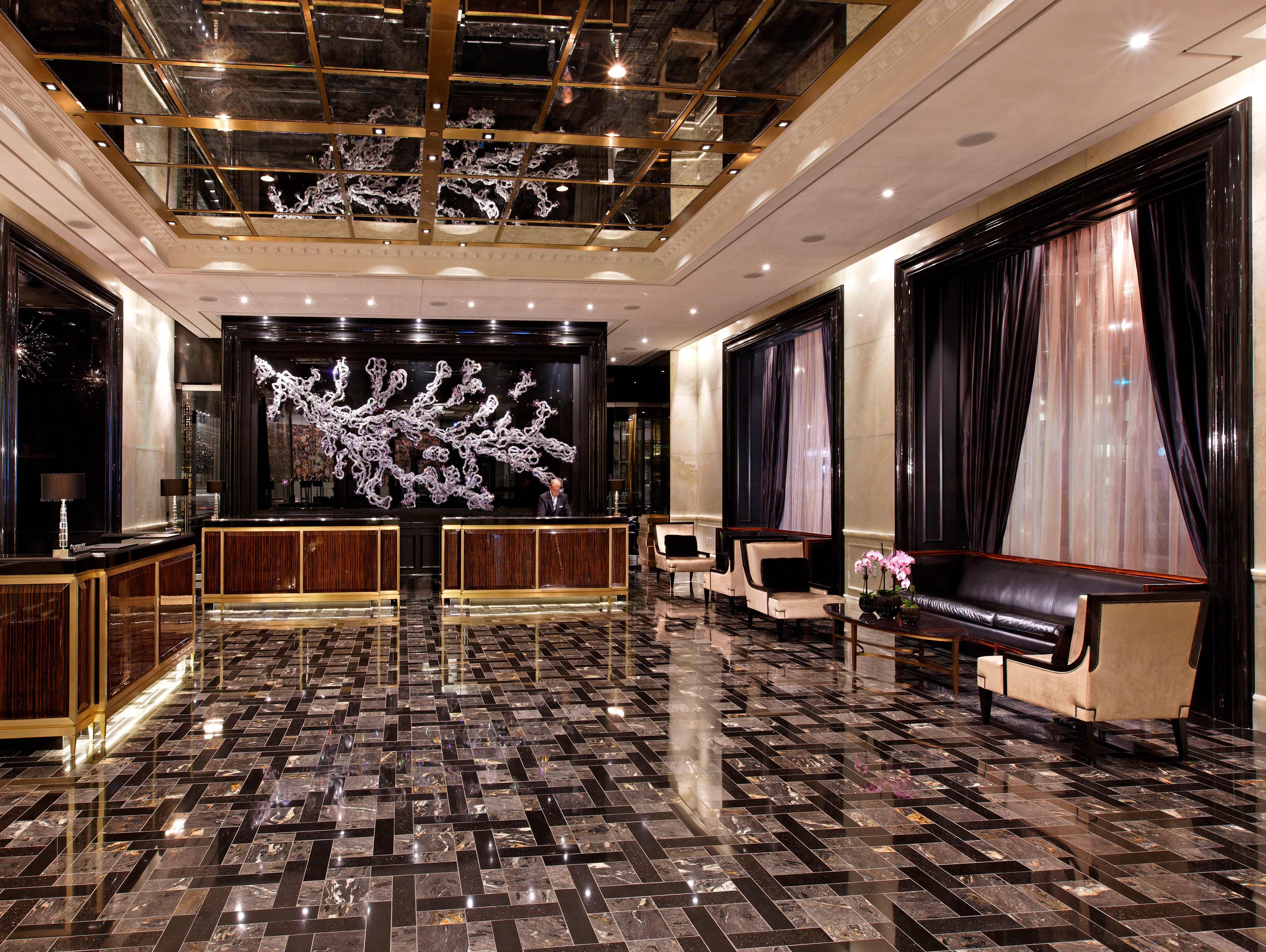 The Trump International Hotel & Tower Toronto shimmers with granite accents and darker woods.