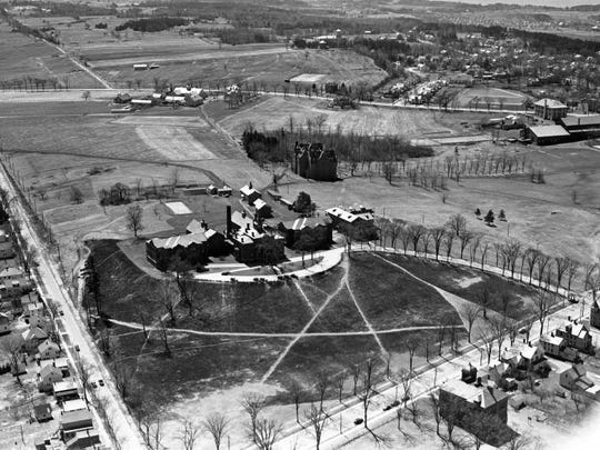 Aerial view of what is now the University of Vermont Medical Center.