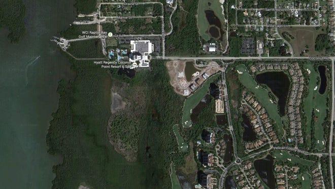 Google maps aerial of Coconut Pointe Hyatt