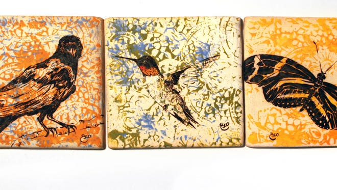 """""""3 Tiles,"""" by Kathleen Escobedo, is part of the exhibit """"Hand Built: Artworks by Five on Tile"""" at Vision Gallery in Chandler."""