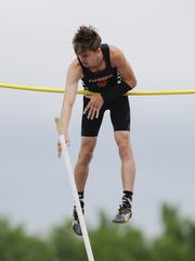 Plymouth's Jaxsen Schermacher struggles with bar in the Division 1 pole vault during the WIAA state track and field meet at Veterans Memorial Stadium Saturday, June 2, 2018, in La Crosse, Wis.