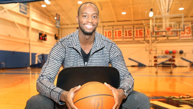 Westchester Knicks player Marcus Ginyard has played basketball in North Carolina, Poland, Israel, Ukraine and now White Plains. He was photographed after a team practice at the Westchester Knicks Practice Facility in Tarrytown.