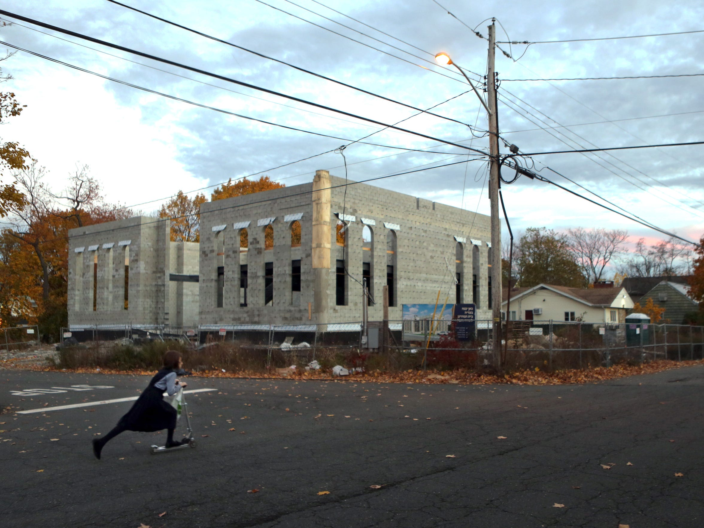 A synagogue under construction on Herrick Avenue in