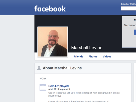 A screenshot of the Facebook page of psychologist and