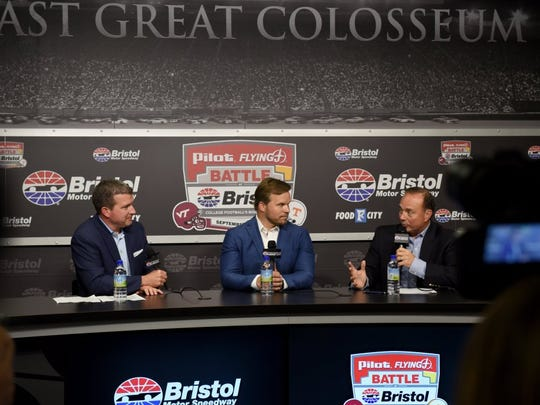 Jerry Caldwell, left, Executive Vice President and General Manager, Bristol Motor Speedway, Marcus Smith, President and Chief Executive Officer, Speedway Motorsports Inc., and Dr. Jerry Punch, Sports Commentator, ESPN/ABC during a press briefing Monday, August 29, 2016 to update the progress of the transformation of Bristol Motor Speedway to the site of the world's largest college football game.