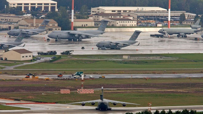 Airplanes stand on the U.S. air base sy Ramstein, Germany in this file photo from 2006.