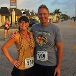 Cocoa Beach Mayor Dave Netterstrom and his wife Sherri participate in the 2015 Cocoa Beach Turkey Trot.