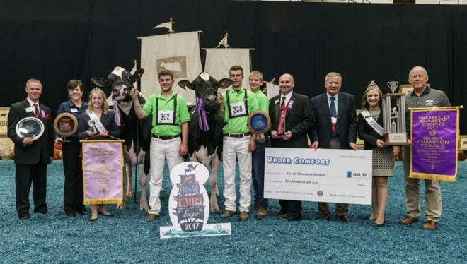 After earning first place honors in the Five-Year-Old Cow class, Walk-Era Dundee Annelise, owned by Trevor Tuman and Chandler Bening of Arlington, MN, took home Senior Champion Female honors followed by the title of Grand Champion Female of the International Junior Holstein Show at World Dairy Expo on Tuesday, October 3. The first place 150,000 lb. Production cow class winner and Reserve Grand Champion Female honors were presented to J&K-Vue Goldwyn Glamour-ET, owned by Douglas R. Boop of Millmont, PA. Boop. Judge Lynn Harbaugh of Marion, WI, and Associate Judge Ryan Krohlow of Poynette, WI. placed 269 animals.