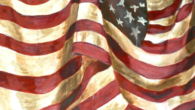 """Devon Wolfe's oil painting of a closely cropped image of the American flag titled """"Nationalist"""" has added meaning by the artist's choice of shadowed coloration, but it will leave the viewer with some questions."""