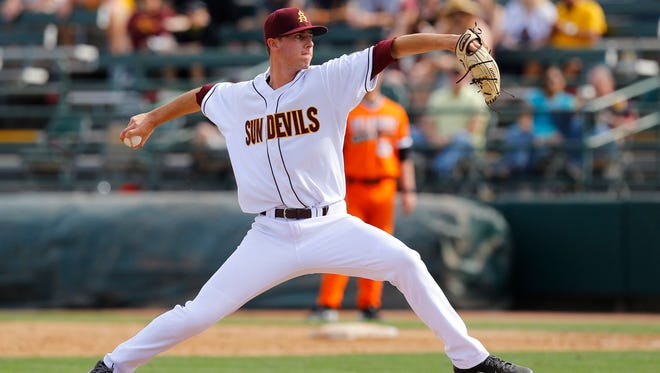 Arizona State pitcher Ryan Hingst (47) throws against Oklahoma State  in the 6th inning of their NCAA baseball game Sunday, Feb. 15, 2015 in Phoenix, Ariz.