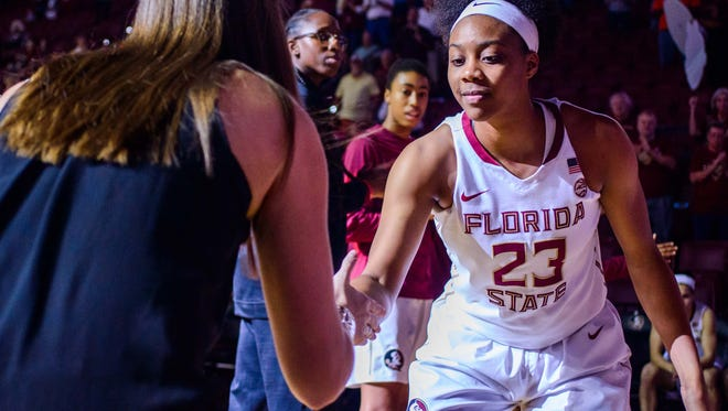 Ivey Slaughter (23) is introduced before the 90-47 Florida State University victory against Jacksonville on Thurs., Nov. 17, 2016 at the Donald L. Tucker Civic Center in Tallahassee, FL.