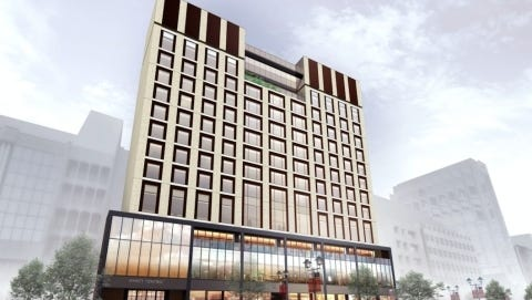 A rendering of what a Hyatt Centric hotel could like like inside the Red Cedar Renaissance development on Michigan Avenue. The $380 million development is part of the Michigan Avenue Corridor project to better bridge the gap between Lansing and East Lansing.