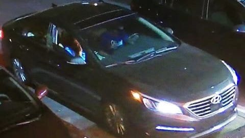 Indio police are looking for suspects in a shooting that injured a person Sunday night. The suspects were filmed inside a Hyundai at a Circle K store.