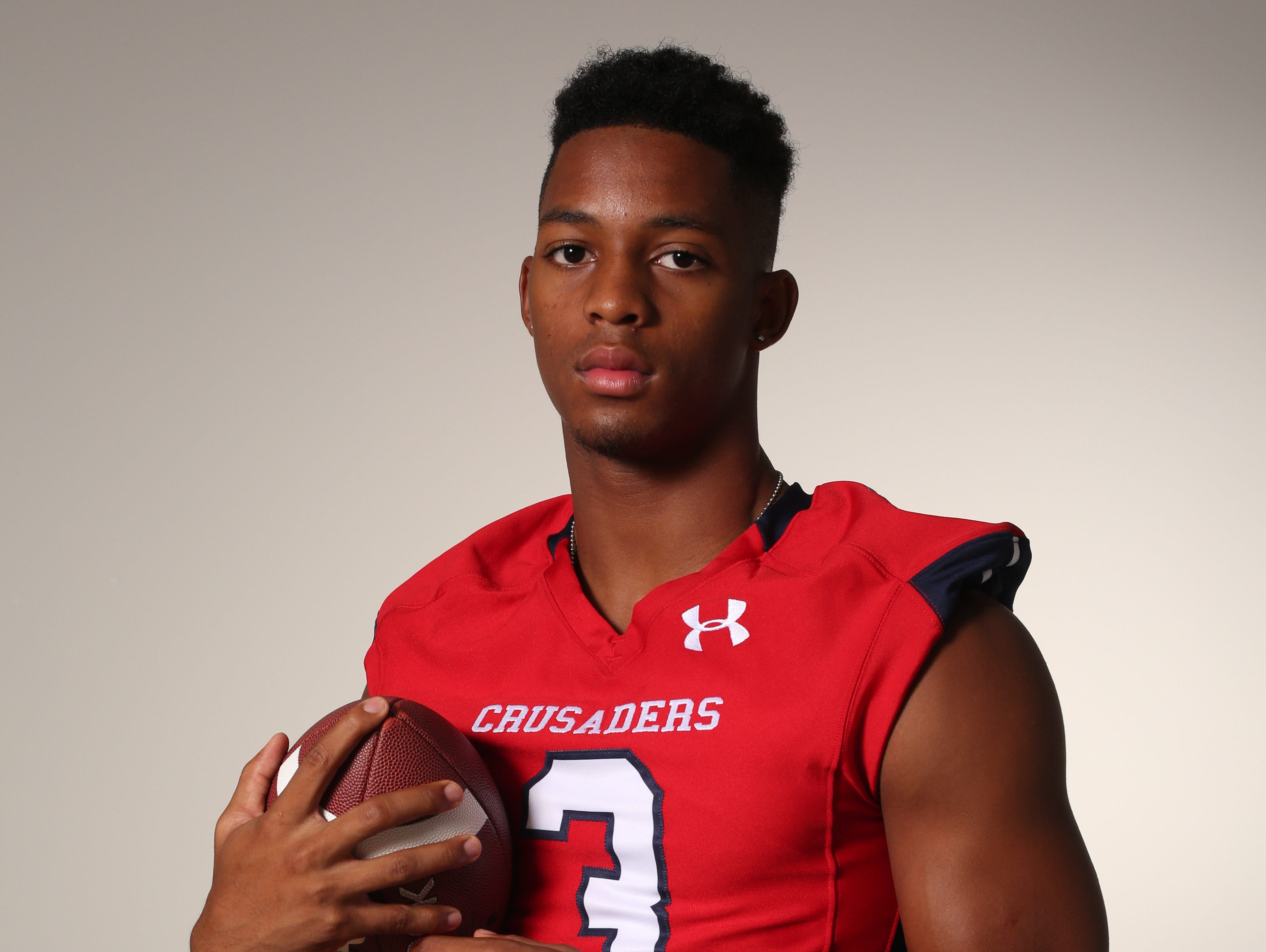 DeVante Reid, a wide receiver and defensive back with the Archbishop Stepinac High School football team, photographed Aug. 19, 2016.