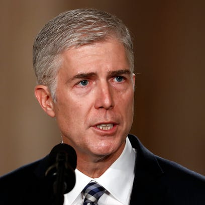 Judge Neil Gorsuch speaks in the East Room of the White