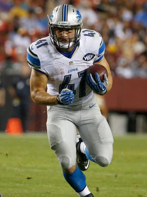 Detroit Lions running back Zach Zenner carries the ball during the second half of an NFL preseason football game against the Washington Redskins in Landover, Md., Thursday, Aug. 20, 2015. (AP Photo/Alex Brandon)