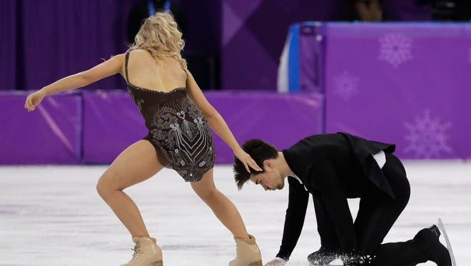 Madison Hubbell and Zachary Donohue of the U.S. stumble as they perform during the ice dance skating final at the 2018 Winter Olympics in Gangneung, South Korea.