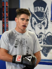 Nevada's Nate Strother works out  at the boxing gym