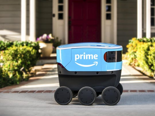 A self-driving delivery robot that Amazon is calling