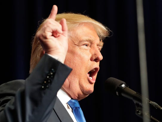 Presidential candidate Donald Trump speaks at his campaign